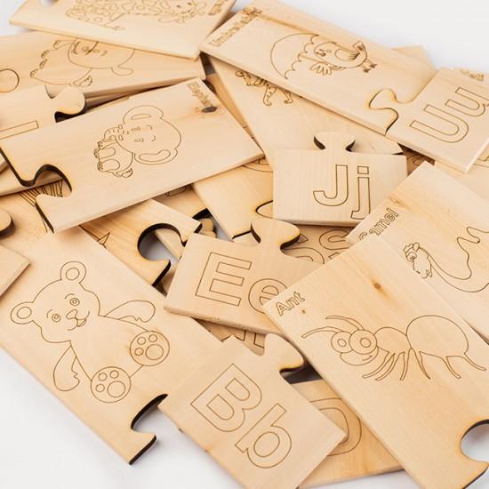 Дървен образователен пъзел TopKids Уча английски