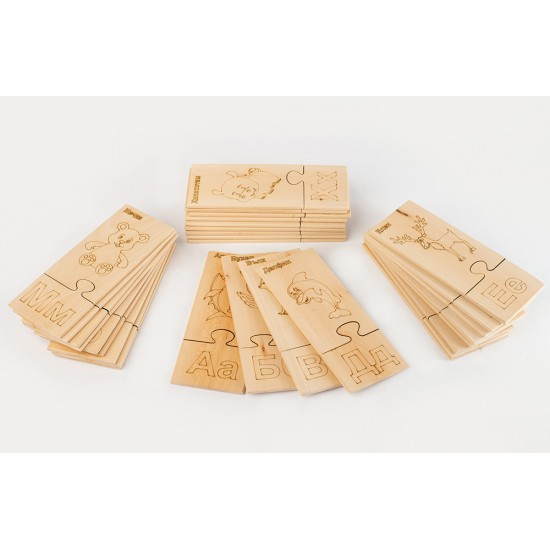 Дървен образователен пъзел TopKids Уча буквите