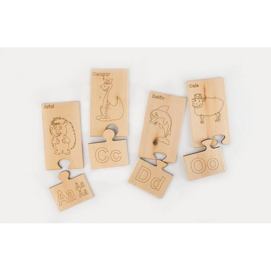 Дървен образователен пъзел TopKids Уча румънски